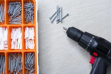 screws and screwdriver.