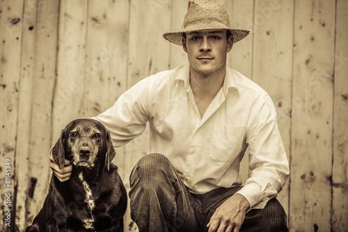 Leinwanddruck Bild The Farmer and his Best Friend