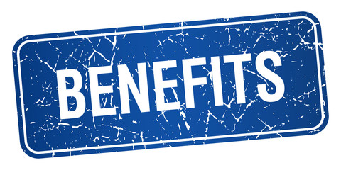benefits blue square grunge textured isolated stamp