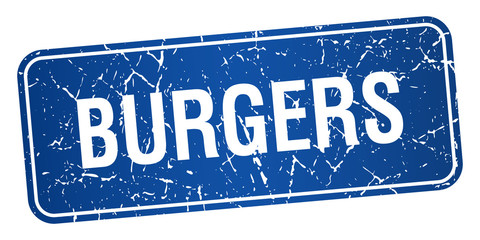 burgers blue square grunge textured isolated stamp