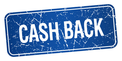 cash back blue square grunge textured isolated stamp