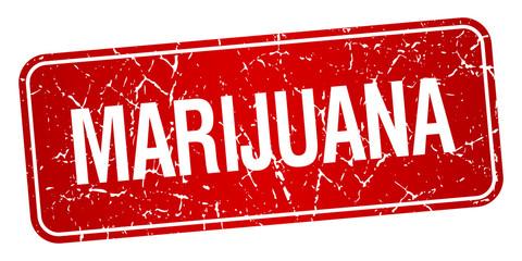 marijuana red square grunge textured isolated stamp