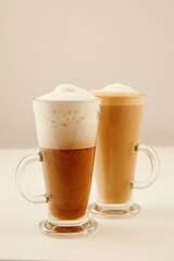 two tall glass coffee latte