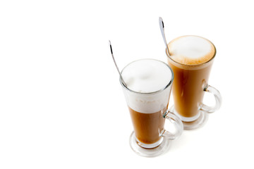 two tall glass coffee latte on white background