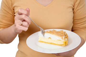 "Woman eats cheesecake ""tears of an angel"""