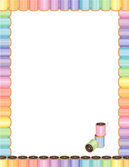 Sewing Needle, Pastel Threads Letterhead Poster Frame