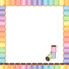 Sewing Needle, Pastel Threads Square Poster Frame