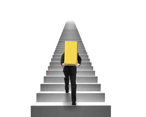 Businessman carrying gold bullion on stairs with white backgroun