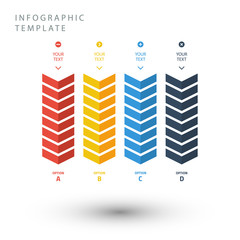 Color zigzag info graphic template in flat colors.