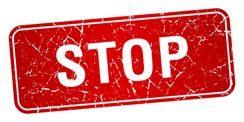 stop red square grunge textured isolated stamp