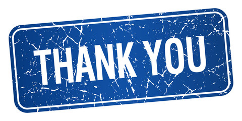 thank you blue square grunge textured isolated stamp