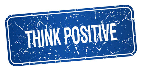 think positive blue square grunge textured isolated stamp