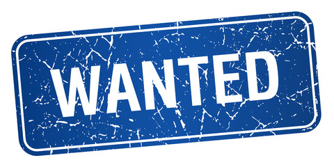 wanted blue square grunge textured isolated stamp