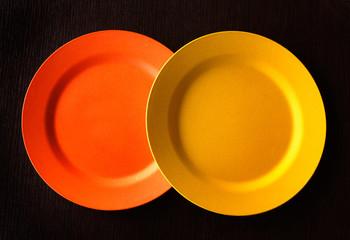 Empty Plate - Orange and yellow around empty plate, background.