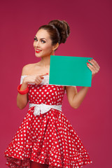Happy Woman Holding Blank Card. Pin-Up Retro style.