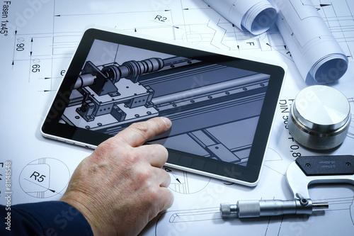 Leinwanddruck Bild Maschinenbau, 3D Konstruktion, technische Zeichnungen