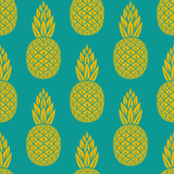 Fototapety pineapple tropical fruit seamless pattern