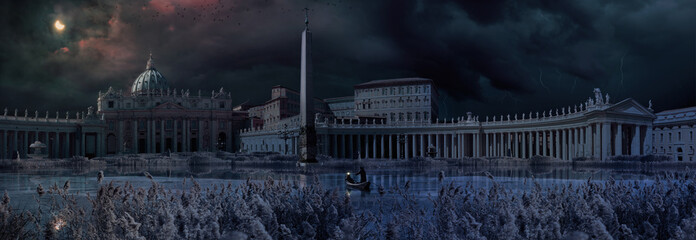 Apocaliptical scene to Saint Peter Square in Rome