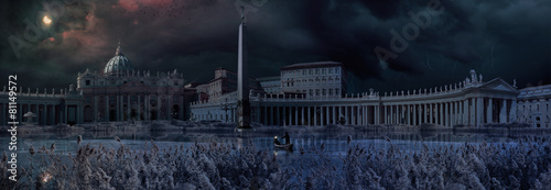 Leinwanddruck Bild Apocaliptical scene to Saint Peter Square in Rome