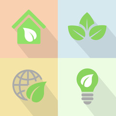 Green energy icons poster flat