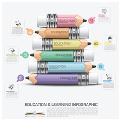 Education And Learning Infographic Subject Of Pencil Step Diagra