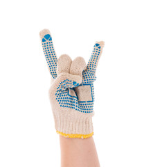 Hand in glove showing rock sign.