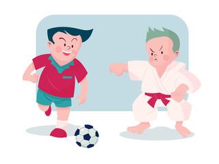 boy  playing football and karate vector illustration