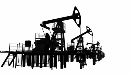 Silhouettes oil pump-jacks. Isolated