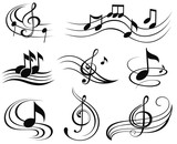 Fototapety Music notes. Set of music design elements or icons.