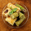 Turkish arabic dessert - baklava with honey and nuts
