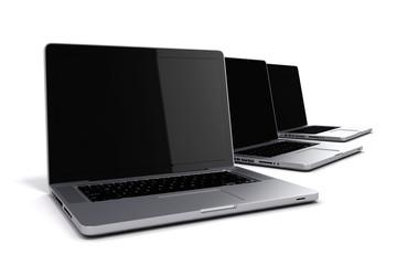 3d render of laptops on white background