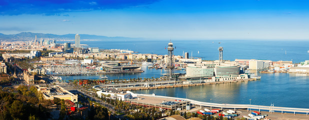 Panoramic view of Barcelona with Port