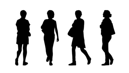 people walking outdoor silhouettes set 29