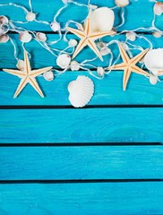 Sea. Delicate nautical border with fishing net, sea shells and