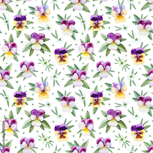 Fototapeta Seamless pattern with watercolor illustrations of pansy flowers