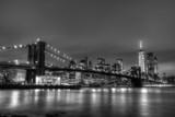 Fototapety Brooklyn bridge at dusk, New York City.