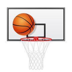 Basketball backboard and ball. Isolated on white