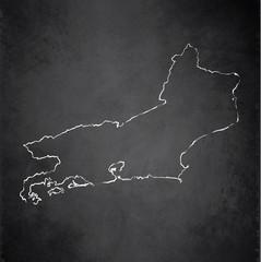 Rio de Janeiro map state blackboard chalkboard vector