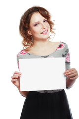 woman hold sign card