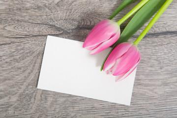 Karte und Tulpen