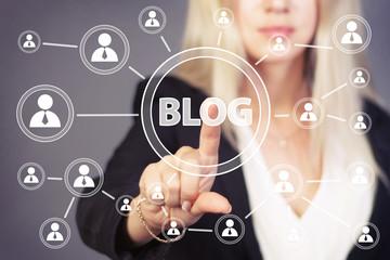 Businesswoman hand press web blog button icon