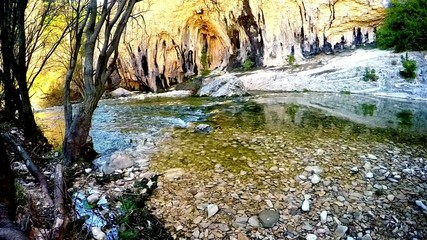 tranquil creek in the forest and limestone rocks in the spring