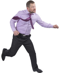 Running businessman in a hurry on white background