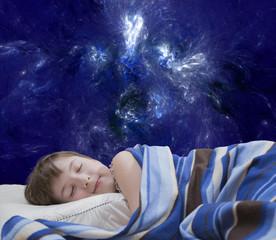 Sleeping girl on abstract background