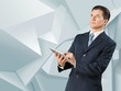 Benefit. Image of businessman holding ipad in hands