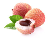 Lychee with leaf