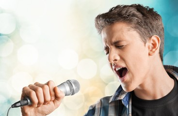 Adult. Retro image of man singing into microphone