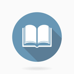 Book Icon With Flat Design. Blue and White Colors