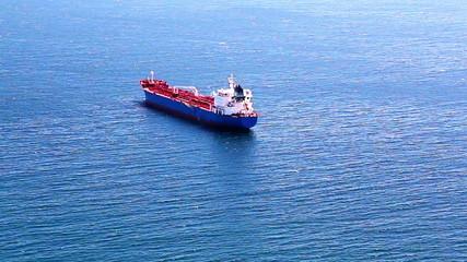 Empty container cargo ship in the open Atlantic ocean