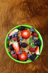 homemade granola muesli with berries for breakfast